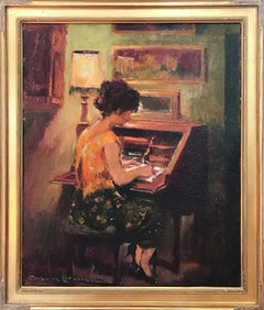 """Portrait at the Desk "" 20th Century Spanish Oil Painting on Canvas"