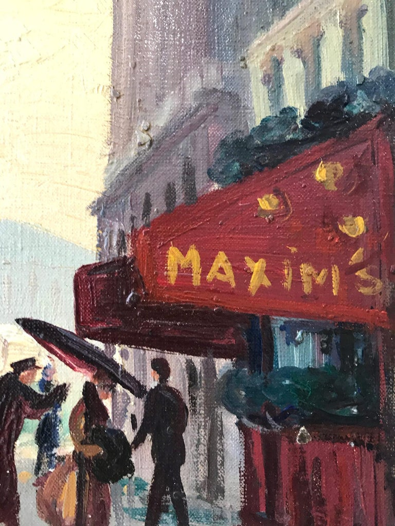 Georges Gerbier was known for his impressionistic street scenes depicting popular locations in Europe. This painting is a tremendously vivid and alive street scene from Paris in the 20th Century, Paris, Maxims Cafe is depicted with figures stepping