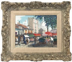 """""""Place Du Tertre """" Impressionist Oil Painting with Figures in Parisian Village"""