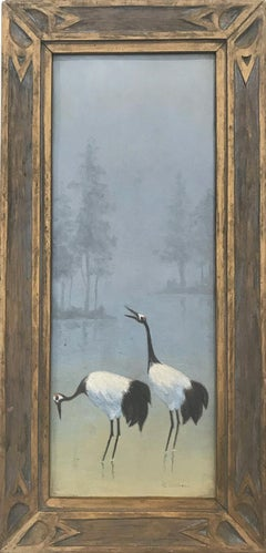 """""""2 Cranes on the Water"""" Oil on Board 20th Century Art Deco Painting"""