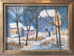 """River Road"" Bucks County Pastoral Winter Snow Scene Landscape Oil Painting"