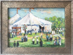 """""""The Circus"""" Bucks County Pastoral Landscape Oil Painting with Balloons and Tent"""