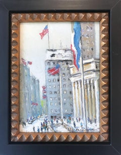 """""""Library NYC"""" New York City Impressionist Winter Scene Landscape Oil Painting"""
