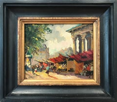 """Flower Market "" Impressionist Oil Painting with Figures in Parisian City Scape"