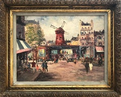 """Moulin Rouge"" Impressionist Scene Oil on Canvas Painting"