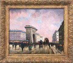 """Porte Saint-Denis"" Post-Impressionist Parisian Street Scene Oil on Canvas"