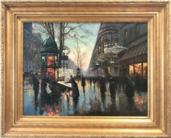 """Parisian Street Corner at Dusk 1961 "" Post-Impressionist Scene Oil on Canvas"