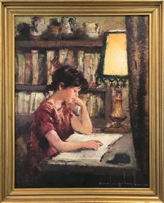 """Reading by the Light "" Spanish 20th Century Portrait Oil Painting on Canvas"