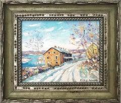 """""""Black Bass INN"""" Bucks County Pastoral Winter Snow Scene Landscape Oil Painting"""