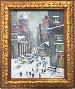 """Wall St and Broad"" NYC Impressionist Winter Scene Landscape Oil Painting"