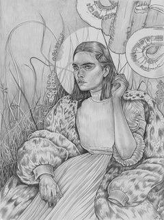 Mystical Garden, graphite on paper, framed