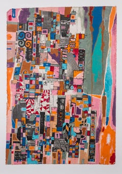 PWW-777 - Eric Mack - Contemporary Abstract Collage Painting Based off the Grid