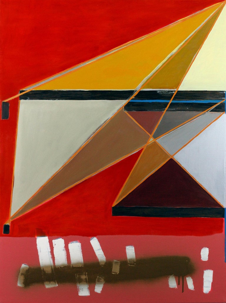 Michael Giles Abstract Painting - He was beautiful without ever having spoken a word - red, geometric - Abstract