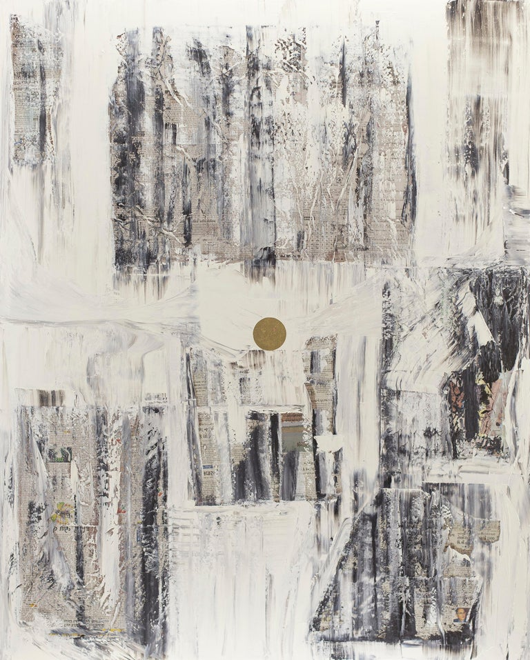"""Yuri Figueroa's """"GC 26"""" is a meditative exploration in the form of found paper, squeegeed oil pant, gold leaf, and canvas.  Figueroa starts his """"gold center"""" paintings with found newspapers, often in languages other than English.  The text is"""