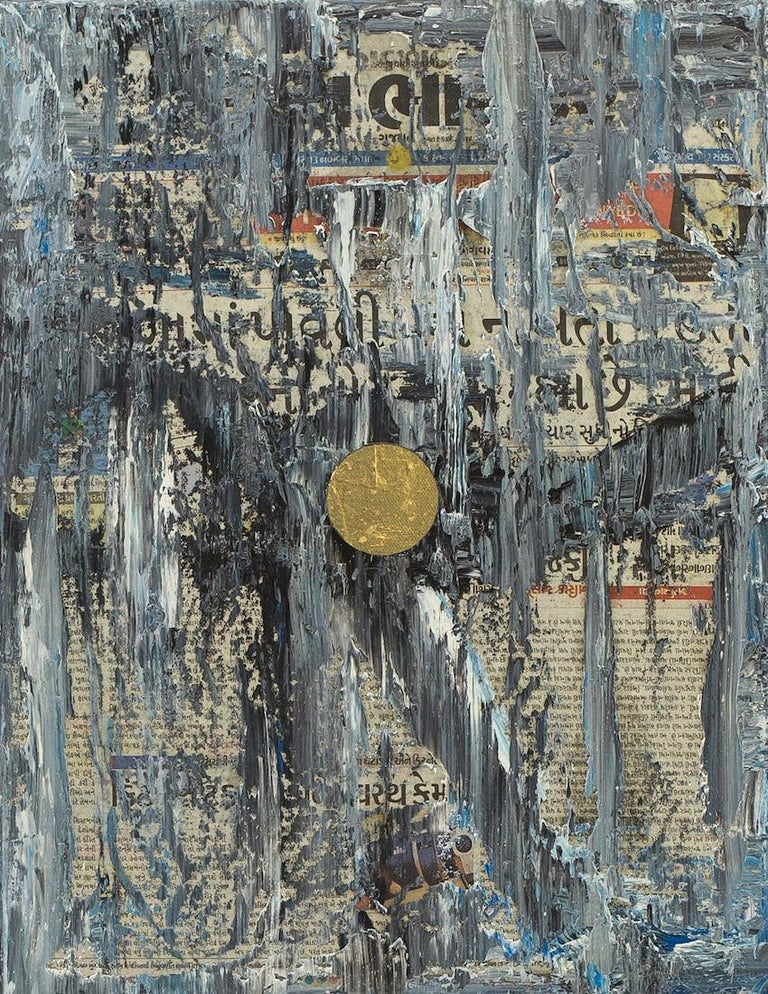 """""""GC Ss 6 Babel"""" by Mexican born artist Yuri Figueroa is a densely layered mixed media painting.  The foundation of the painting is a collage of found newspaper that is covered in layers of black, white, and blue oil paint that the artist squeegees"""