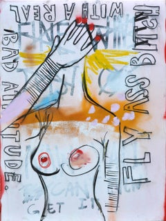 "Frances Berry Painting - Acrylic on Canvas - ""Bad Attitude"" - Contemporary Art"