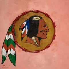 Redskin - contemporary political painting, pink, red razor wire, native chief