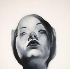 Michelle Fair - Oil on Panel Painting - Black and White Figure - Contemporary
