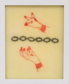 """""""Mudra no. 1"""" tattooed wax, red and black with hands and chain"""