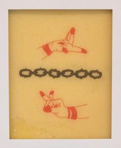 """Chelsea Velaga Framed Ink & Wax - Contemporary Mixed Media - """"Mudra 2"""""""