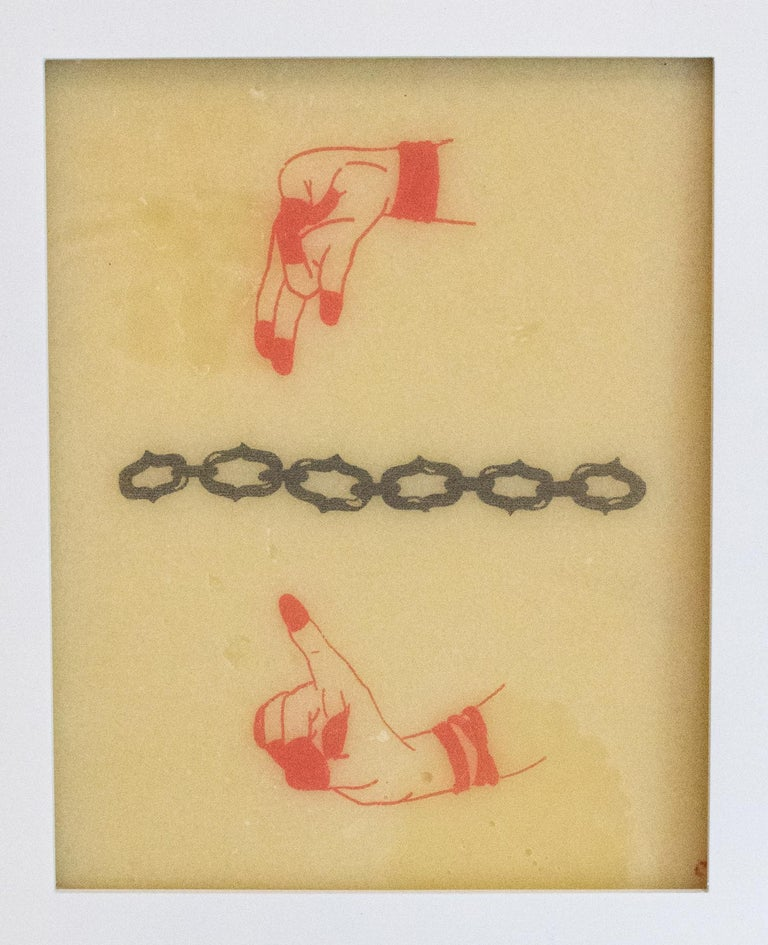 """""""Mudra 5"""" is one in a series of five of Chelsea Velaga's ink & wax pieces. Mudras are gestures in yoga practice meant to enhance a person's energy within by facilitating the flow of energy within the body."""