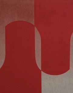 Untitled Sculptural Painting - Contemporary - Oil & Acrylic on Linen, Red, Tan