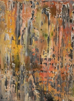 Untitled No. 3 - Abstract Contemporary, brown, yellow, black, pink, oil painting