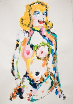 Frances Berry Painting - Nude Lady - Acrylic on Paper - Contemporary Art