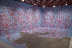 "Dustin Hedrick Tape Installation - Blue Paint & Red tape - ""Cutting Edge"" Mural"