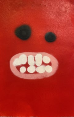 "Painting - ""Hooray Face #2"" - Acrylic on paper - Contemporary Art - Red Abstract"