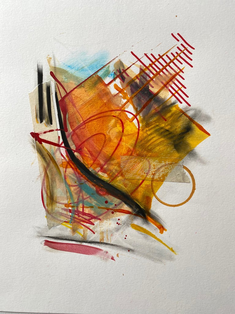 Ridge McLeod Abstract Painting - Framed Painting - Acrylic, gouache, ink, tape, graphite, & paper - Abstract