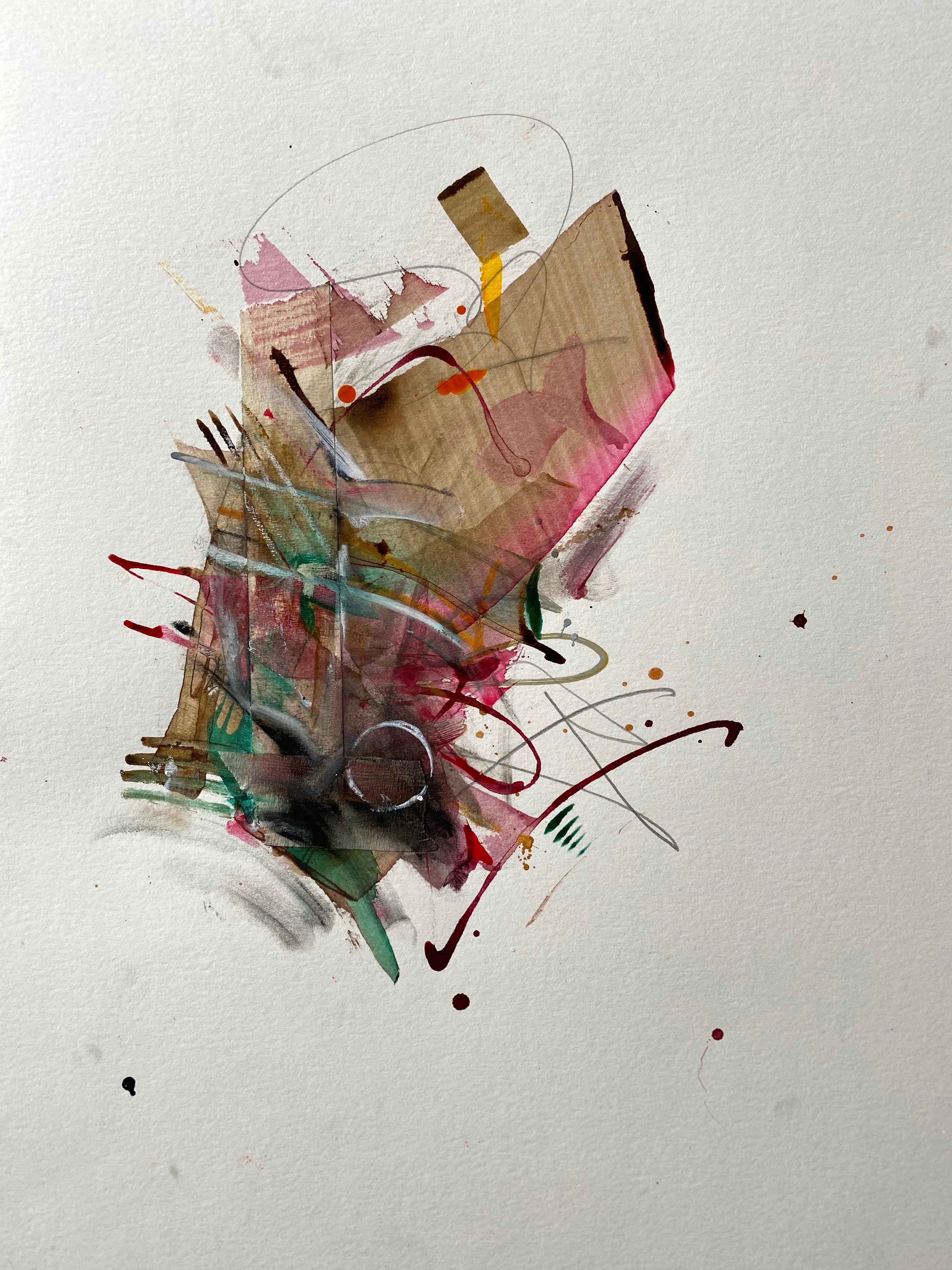 Framed Painting - Acrylic, gouache, ink, tape, graphite, on paper - Abstract