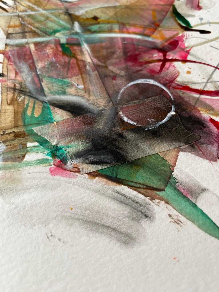 Framed Painting - Acrylic, gouache, ink, tape, graphite, on paper - Abstract  For Sale 3