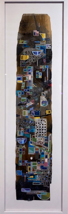 Framed Painting - Gesso, acrylic, iridescent pigment, & paper on wood - Collage