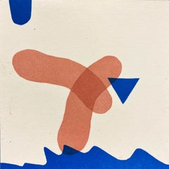 Letter Pressed Ink on Paper on Panel - Contemporary Abstract - White & Blue