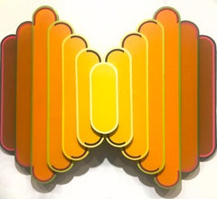 Novum - 35.5 x 44 - Yellow and Orange Acrylic Paint on Cut and sculpted Wood