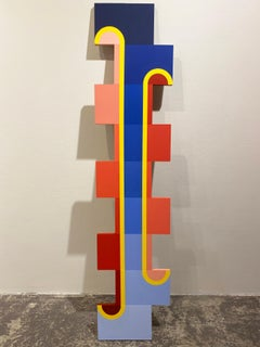Funicular - 72 x 16 - Blue, Red Multi Colored Acrylic Paint on Cut Wood, 2020