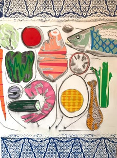 Feast - Still Life, Acrylic, Pencil, Charcoal, on Canvas, 2020 - Fish and Linen