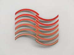 Cissoid -Acrylic on Wood Hanging Sculpture Red to Pink Waves, Abstract Geometric