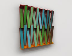 Shim - Contemporary, Dynamic, Abstract Hangable Sculpture, Acrylic on Wood