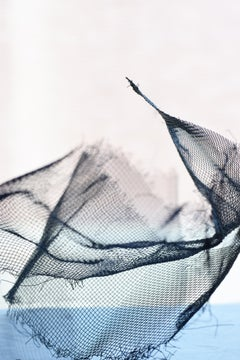 Wire Mesh, Limited Edition Print on Handmade Archival Paper - Black White, Blue