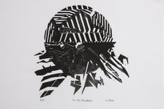 To The Foundation - Woodblock Print on Handmade Paper, Black and White
