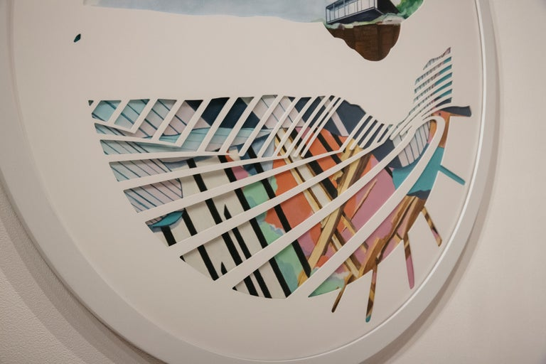Spinning Plates - Nick Peña - Circular Contemporary Landscape/Abstract Painting  For Sale 1