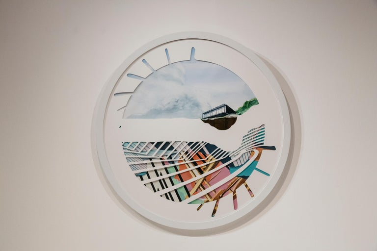 Spinning Plates - Nick Peña - Circular Contemporary Landscape/Abstract Painting  For Sale 4