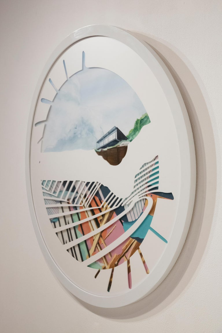 Spinning Plates - Nick Peña - Circular Contemporary Landscape/Abstract Painting  For Sale 6