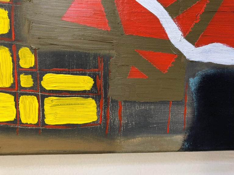 The girl sitting, signaled and took advantage of the confusion - Michael Giles - Brown Abstract Painting by Michael Giles