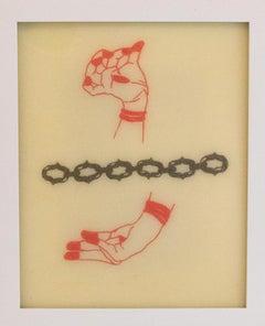 """Chelsea Velaga Framed Ink & Wax - Contemporary Mixed Media - """"Mudra 4"""""""