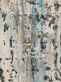 Untitled No. 2 - Oil Painting on Canvas, abstract expressionist, blue, white