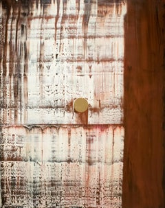 Centered - Oil Gold Leaf on Canvas, abstract contemporary, white, brown