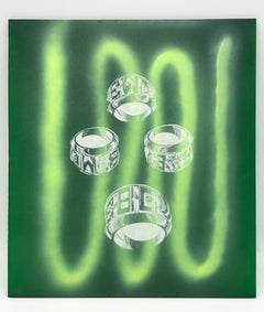 Acrylic Collaboration with Amber Ibarreche, Ring Print, Green Spray Paint